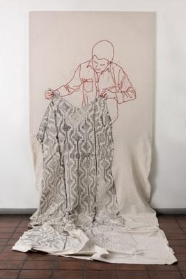 Cristiàn Velasco, País Soñado (Country Dream), 2013, embroidery on cotton, 500 x 150 cm. Photo Cristiàn Velasco