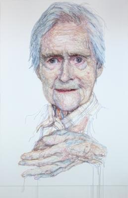 Jenni Dutton, Dementia Darning Mum rubbing her hands, 2012, wool threads, fine netting, canvas, 130 x 90 cm. Photo Rupert Mardon
