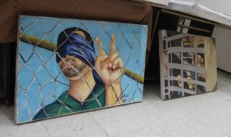Prisoners' art exhibit at the Palestinian Ministry of Detainees' and Ex-detainees' Affairs in Gaza - Joe Catron