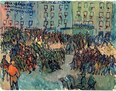cc commons.wikimedia.org Charlotte Salomon - JHM 4762 -Kristallnacht