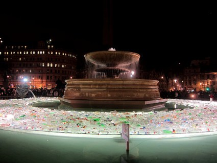 cc Flickr Bex Walton photostream Plastic Islands a sea of bottles in the Trafalgar Square fountains