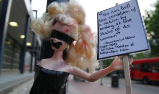Barbie provoking conversations on gender inequality - craftivist collective