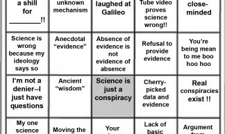 science denier bingo card - Lenny Flank