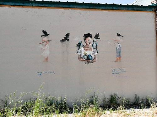 cc Flickr Jay Galvibn photostream Frida Kahlo with her Parrots, Black Birds Chalk Mural