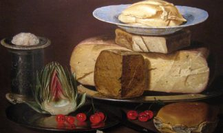 Still Life with Cheeses, Artichoke, and Cherries - Beesnest McClain