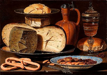 cc commons.wikimedia.org Clara Peeters - Still Life with Cheeses, Almonds and Pretzels