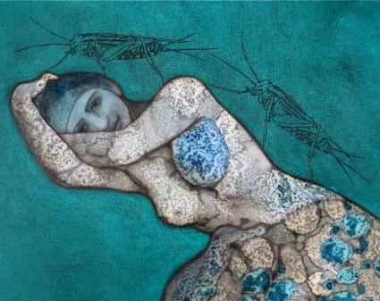 © Nikki Pelaez Liggende vrouw met twee krekels, 2015