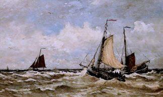 IMG_5067 Hendrik Willem Mesdag 1831-1915 La Haye Rough sea with schips.  Bateaux sur une mer agitée Groningen. Groninger museum - jean louis mazieres