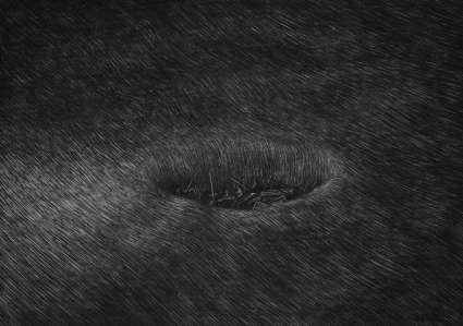 © Levi van Veluw. Shallow hole, charcoal drawing, 73 x 51 cm, uit de serie The collapse of cohesion, 2013