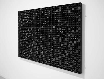 © Levi van Veluw. Subdividing matter II, Handmade sculpture , 240cm x 70cm x 5cm, Walnut wood, Black ink, with movable lids, Uit serie The Monolith, 2016