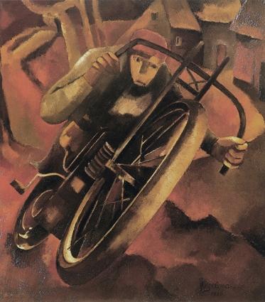 © hendrikwiegersma.com De Motorrijder, 128 x 115 cm, olieverf op doek, 1926