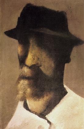 © hendrikwiegersma.com Zelfportret met hoed, 33 x 56 cm, olieverf op doek, 1959