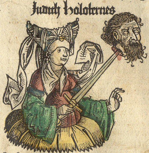 Neurenbergse Wereldkroniek: de Joodse heldin Judith met het hoofd van Holofernes