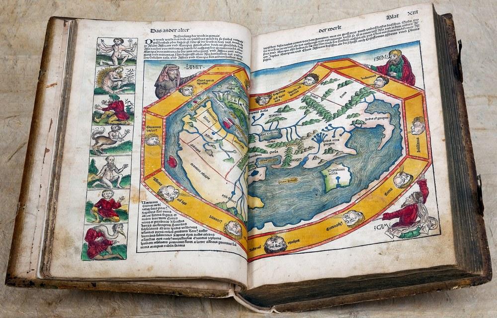 Neurenbergse Wereldkroniek: de wereldkaart van Ptolemaeus