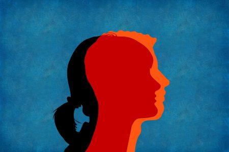 silhouet gezicht man en vrouw door elkaar