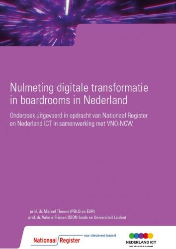 © Nationaal Register voorkant omslag Nulmeting digitale transformatie in boardrooms in Nederland 2019