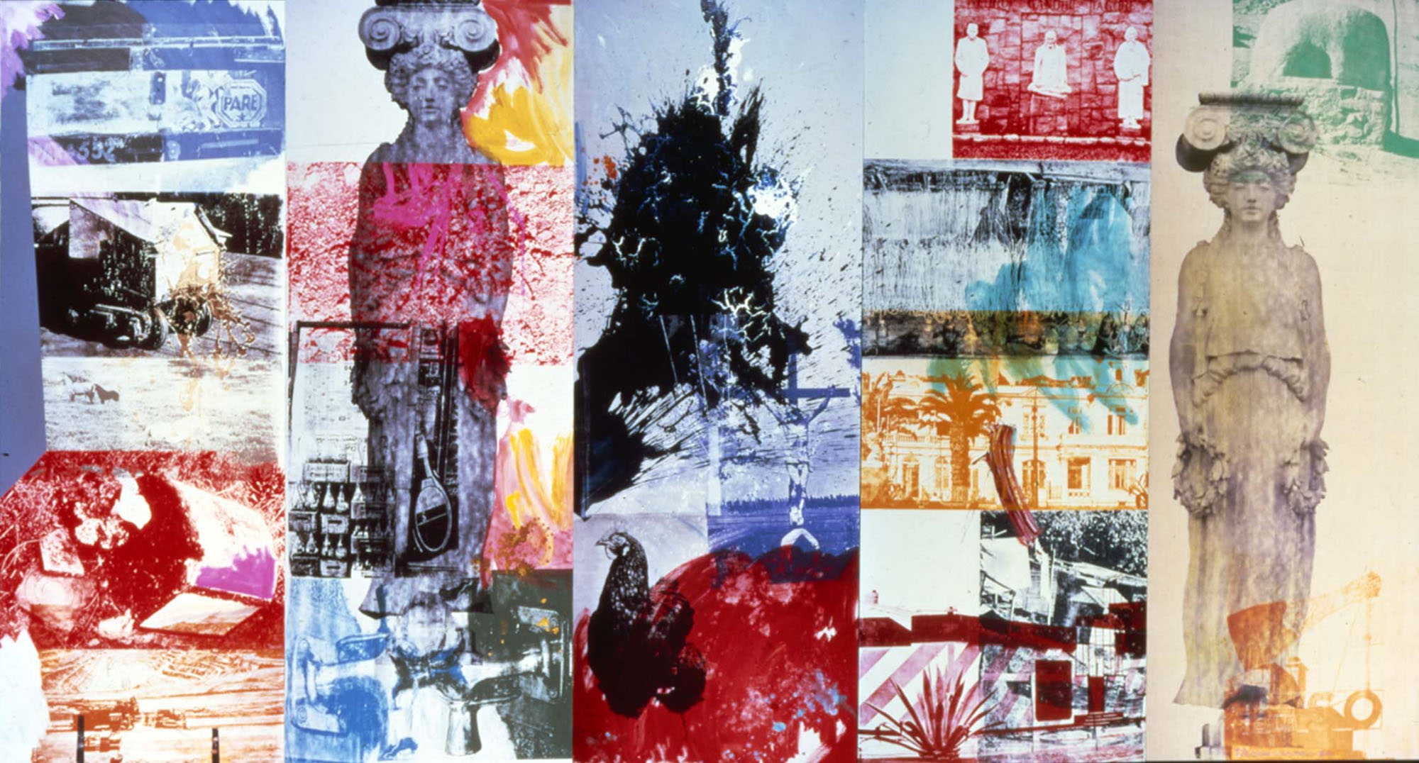 © Robert Rauschenberg Foundation. Caryatid Cavalcade I - ROCI CHILE, 1985 Acrylic on canvas (351.8 x 662.3 cm) Robert Rauschenberg Foundation