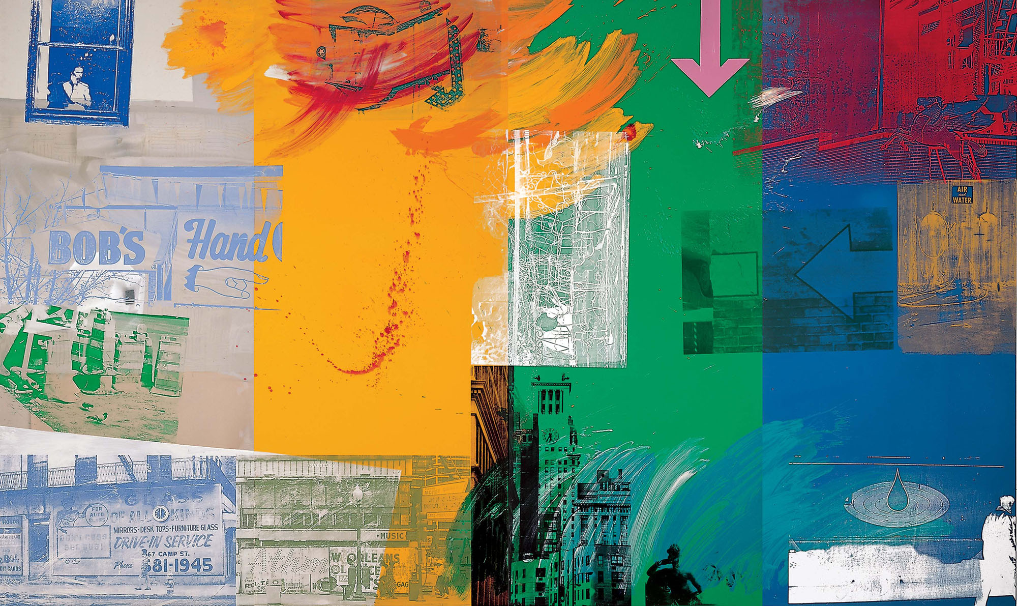 © Robert Rauschenberg Foundation. Catch (Urban Bourbon), 1993 Acrylic on mirrored and enameled aluminum (294.6 x 490.9 cm) Robert Rauschenberg Foundation
