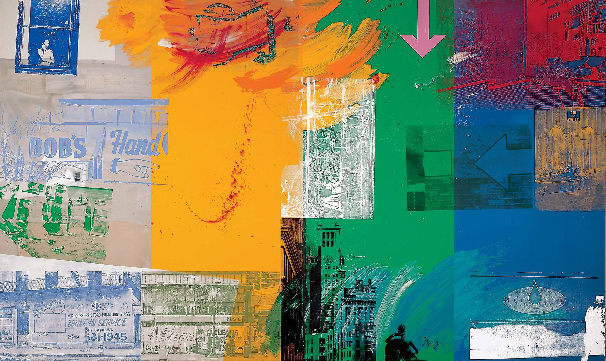 © Robert Rauschenberg Foundation. Catch (Urban Bourbon), 1993 Acrylic on mirrored and enameled aluminum (294.6 x 490.9 cm) Robert Rauschenberg Foundation