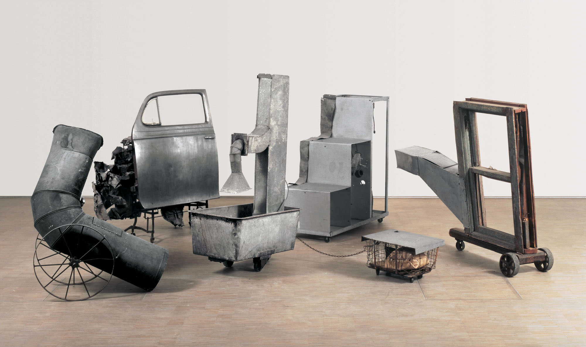 © Robert Rauschenberg Foundation. Oracle, 1962-65 Five-part found-metal assemblage with five concealed radios Dimensions variable Museé National d'Art Moderne, Centre Georges Pompidou, Paris