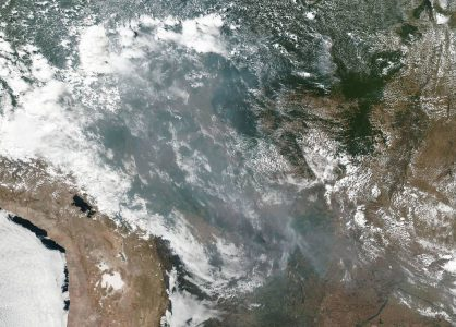 Amazon rainforest fires causing smoke to drift across the whole of Brazil