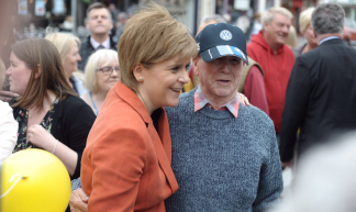 Nicola Sturgeon at home with the happy throngs while campaigning in rich SNP territory @ Kirkintilloch today. - Ninian  Reid