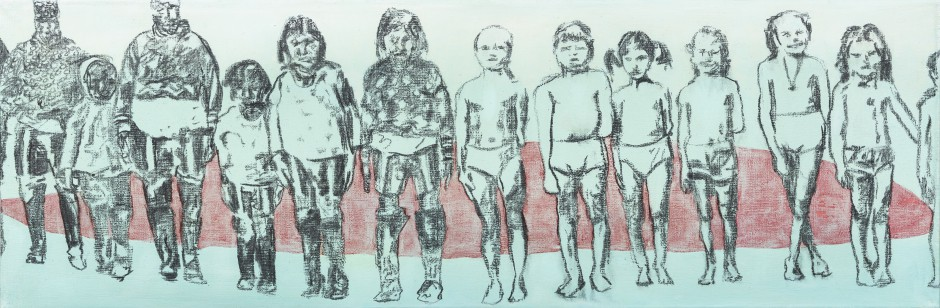 © Christine Muris - These Are Not Our Children, 2015, olieverf en houtskool op linnen, 75 x 25 cm.