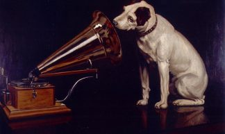"Dog Looking at and Listening to a Phonograph, ""His Master's Voice"", The Original RCA Music Puppy Dog Logo Symbol for Advertising - Beverly & Pack"
