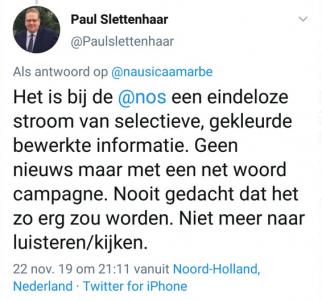Tweet van Slettenhaar