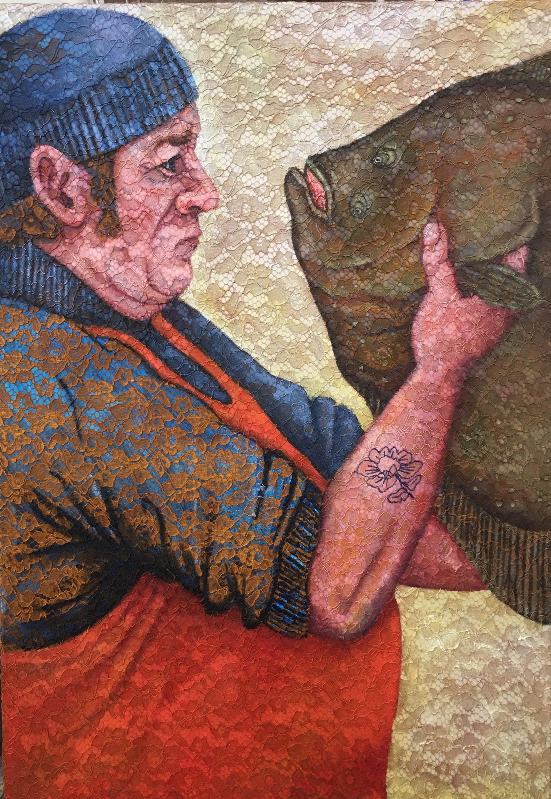 © Els Hoonhout - Liefde op het eerste gezocht, olie op kant en canvas, 100 x 70 cm