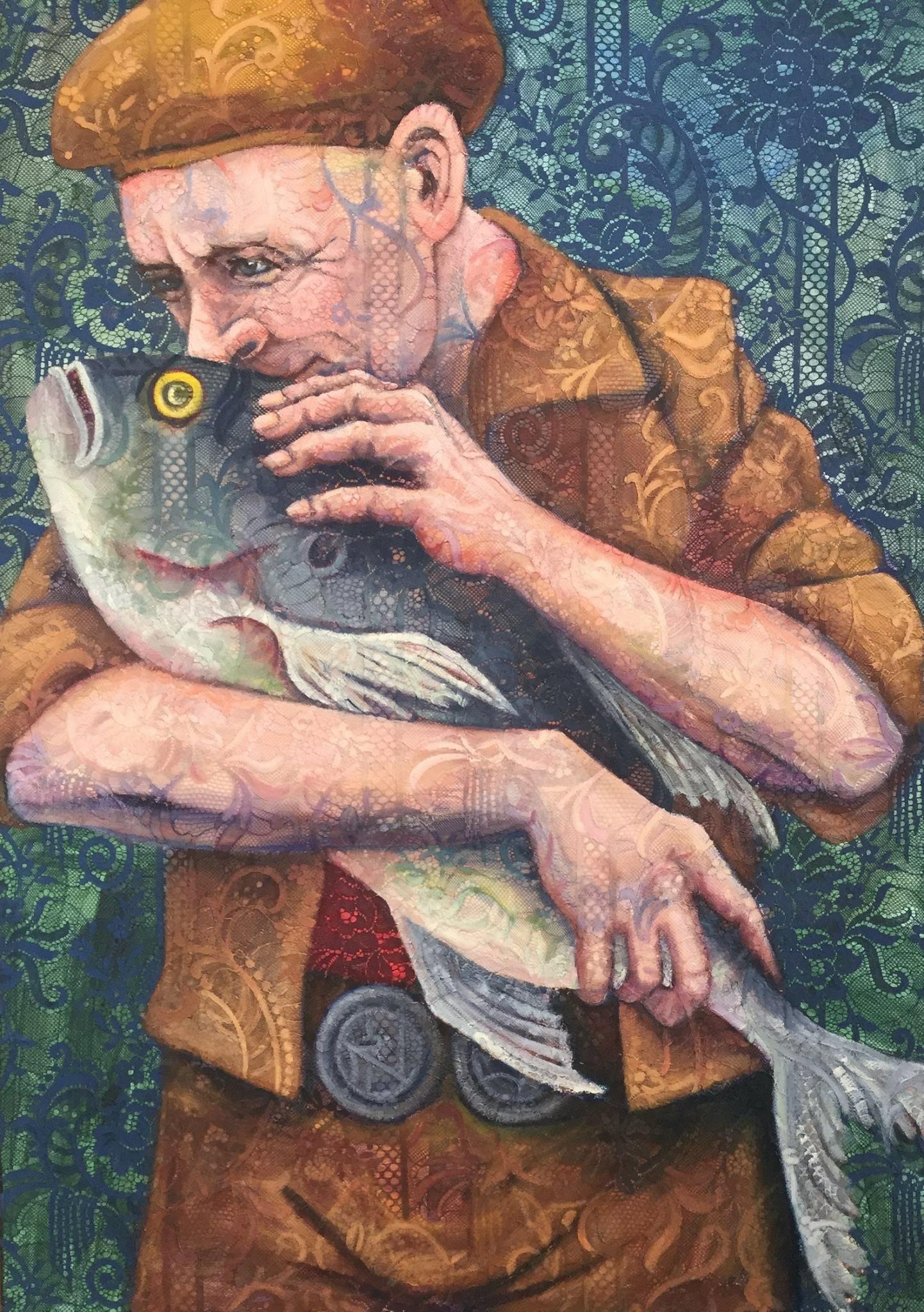 © Els Hoonhout - Zilte zoen, olie op kant en canvas, 100 x 70 cm