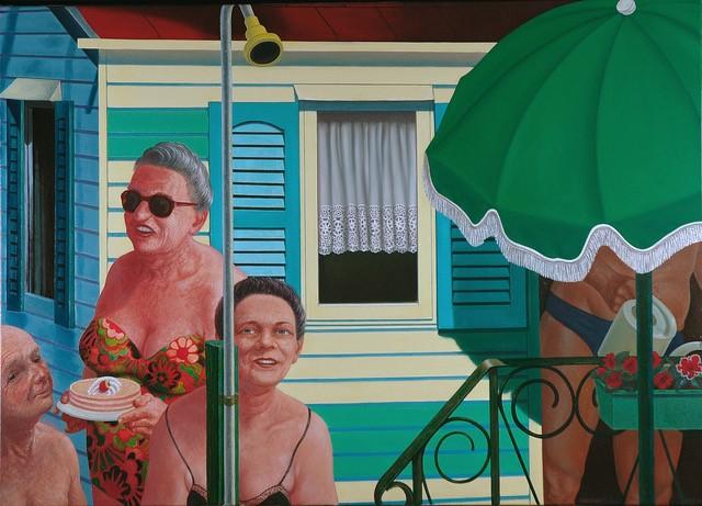 © Fer Hakkaart Jarig bij mobilhome, olieverf 100 x 140 cm 2006