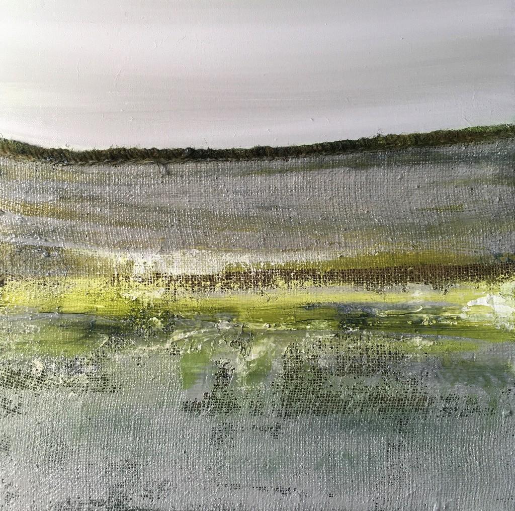 © Els Vegter Polderlandschap I, 2019. Olieverf en jute op linnen, 60 x 60