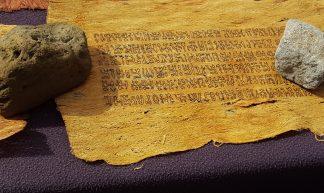 Rongorongo script on Tapa cloth, Rapa Nui - Arthur Chapman