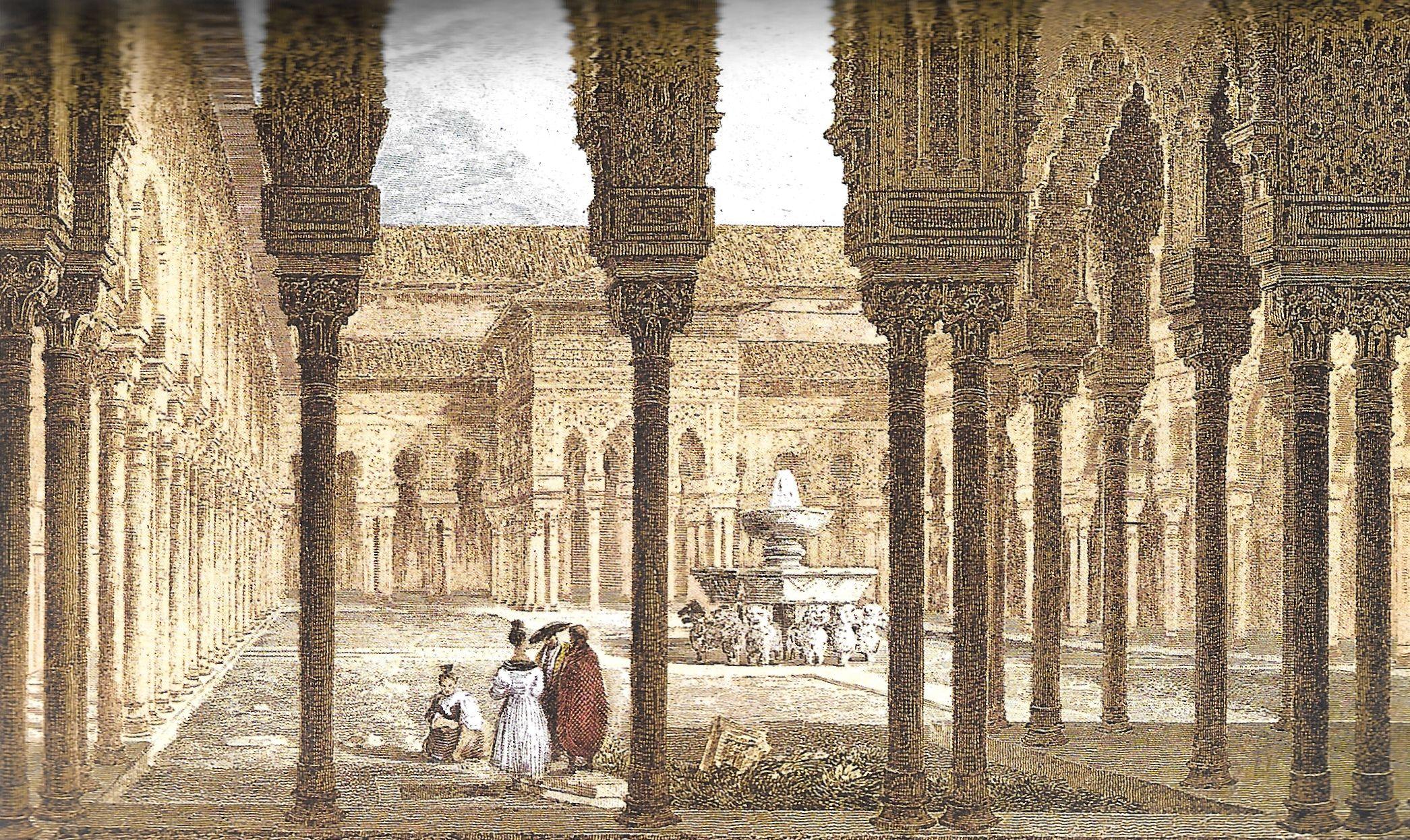 Alhambra, patio de los Leones, 19e eeuwse gravure, gescand uit vertaling van Irvings boek door H.G.B. de Leeuw.