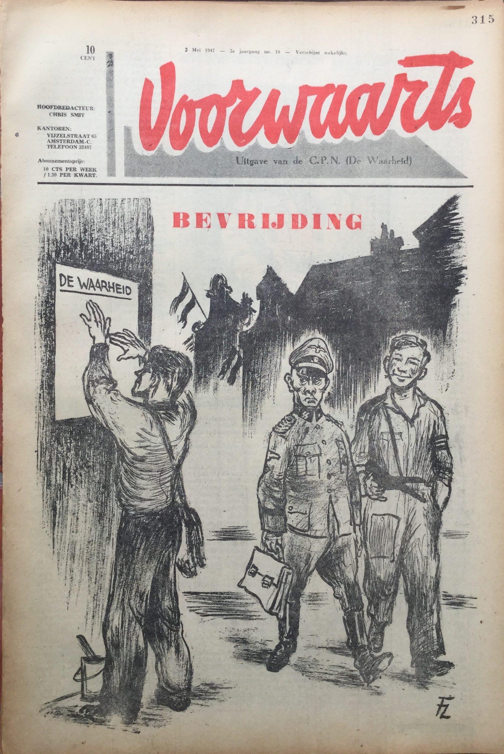 Fritz Behrendt voldaanheid over de overwinning op de Duitsers. Voorwaarts, Bevrijdingsnummer 2 mei 1947