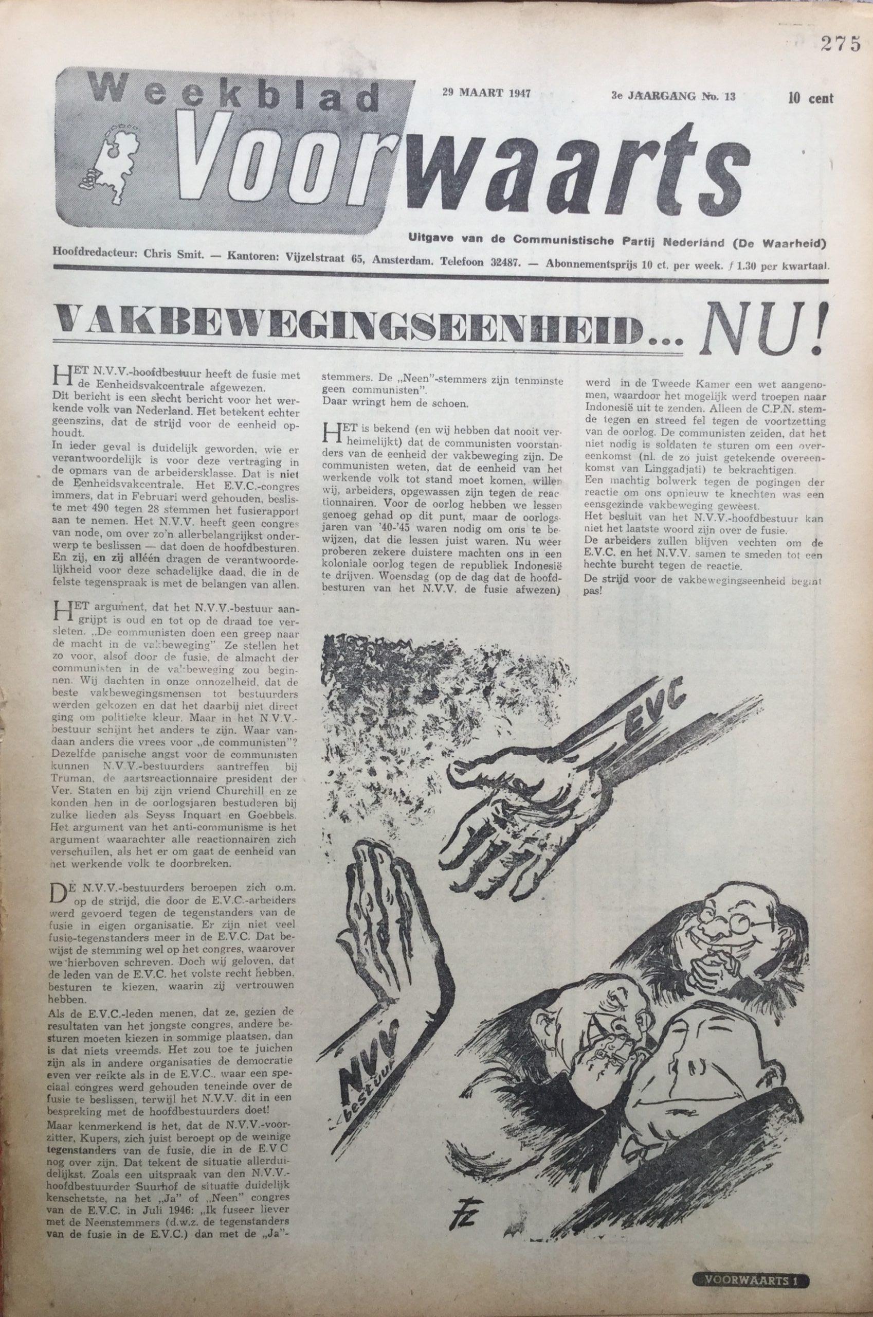 Fritz Behrendt. Pogingen tot fusie van de Eenheidsvakcentrale en NVV mislukten. Voorwaarts van 20 maart 1947