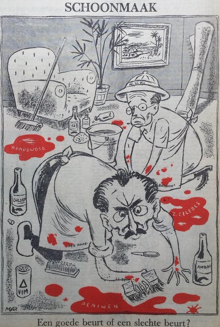 Max Velthuijs. Drees probeert het bloed weg te wissen van de massamoorden van Bondowongo, Zuid-Celebes en Peniwen. Voorwaarts, 9 april 1949