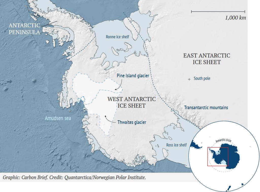 Overzicht van West-Antarctica met de Thwaitesgletsjer.