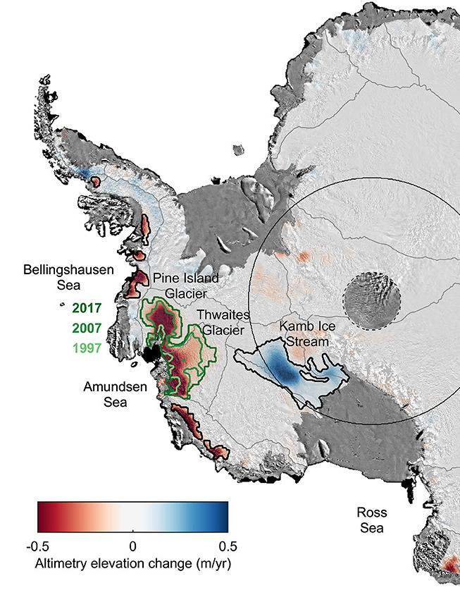 Veranderingen in de hoogte van de ijskappen van het westen van Antarctica gemeten met satellieten.