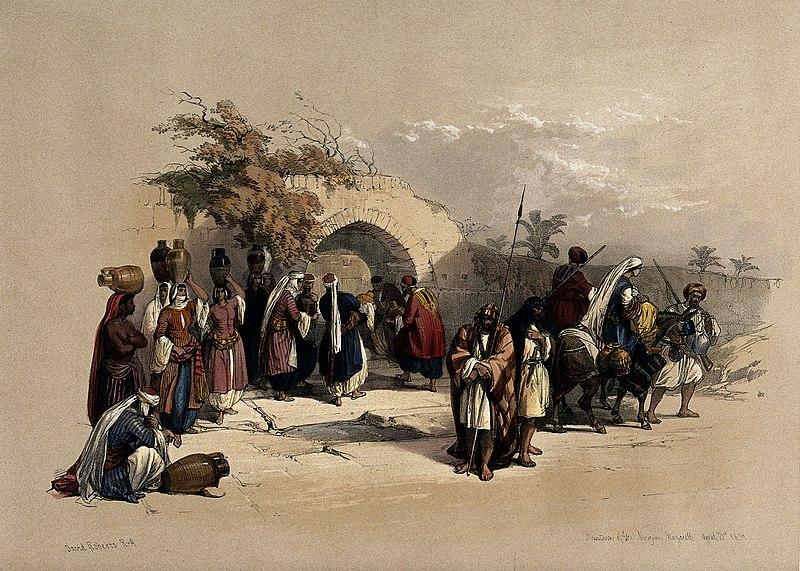 cc commons.wikimedia.org Fountain of the Virgin, Nazareth. Coloured lithograp Wellcome V0049407