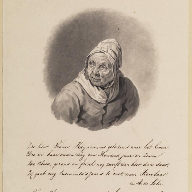 © Teylers Museum Pieter de Goeje - Portret van Lijsje Pieter Ruiter (ca. 1697-1804) op 107-jarige leeftijd