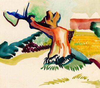 Kunst op zondag 2021 Alida_Pott_Een geknakte wilg_aquarel zj (na 1918) particuliere collectie