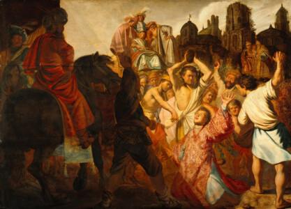 De steniging van Stephanus door Rembrandt, Public domain, via Wikimedia Commons